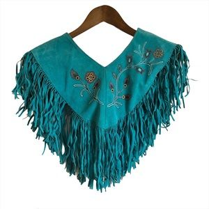 PIONEER WEAR Leather Fringe Embroidered Shawl Blue